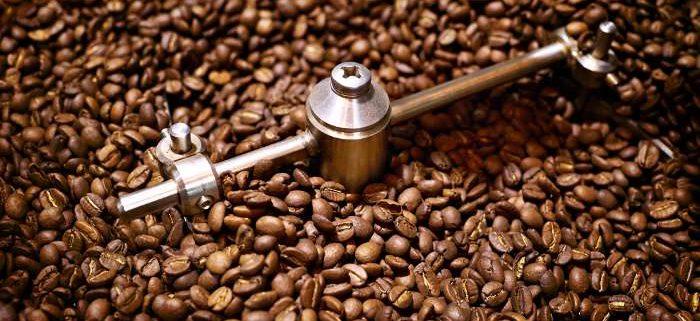 Freshly roasted coffee beans closeup